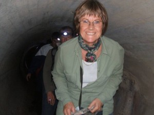 Janice doing the Underground Tunnel Tour